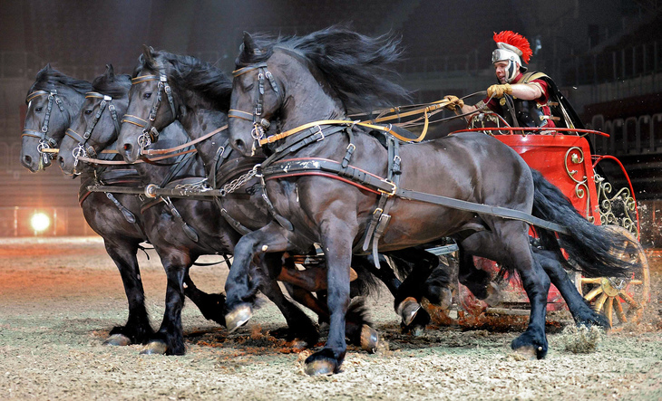 """An actor performs during the rehearsal of the """"Ben Hur Live"""" show at ISS Dome in the western town of Duesseldorf"""